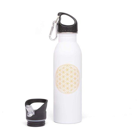 Garrafa Yoga 700ml de aço inoxidável, super leve, colorida, inclui mosquetão e tampa esportiva - Branco