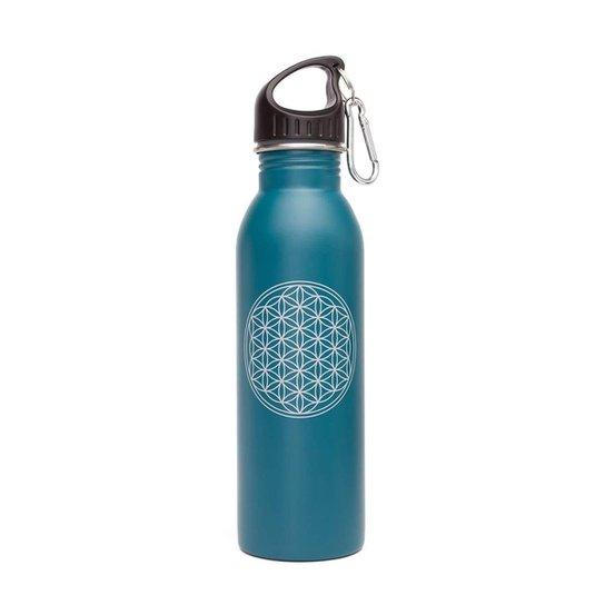 Garrafa Yoga 700ml de aço inoxidável, super leve, colorida, inclui mosquetão e tampa esportiva - Azul Petróleo