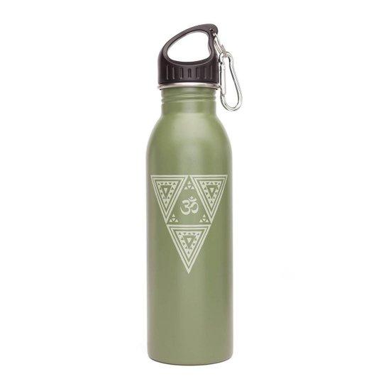 Garrafa Yoga 700ml de aço inoxidável, super leve, colorida, inclui mosquetão e tampa esportiva - Verde Militar