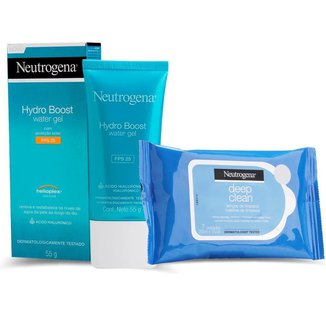 Gel facial Neutrogena hydro boost water 55g + 7 Lenços demaquilante Neutrogena deep clean