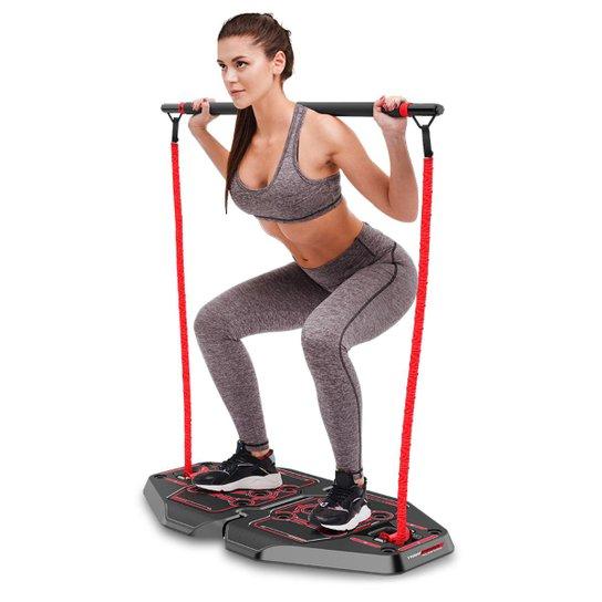 Genis Fitness Plataforma de Exercícios Transformer Full Body Station Genis - Preto+Vermelho