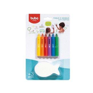 Giz de Colorir no Banho Risque e Apague Com Esponja Buba 3+