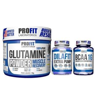 Glutamina 100% Pura 150g + Dilafit + Bcaa 1g - Profit Labs