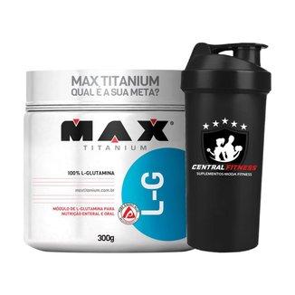 Glutamina LG - 300g Max Titanium + Coqueteleira