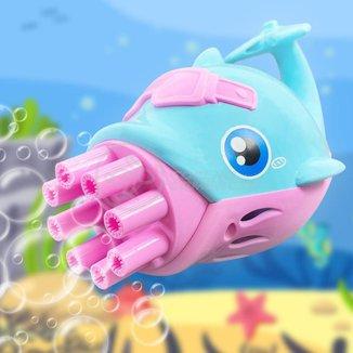 Golfinho Bolhudo Máquina Elétrica Brinquedo Lança Bolhas Sabão Mágica Criança Infantil