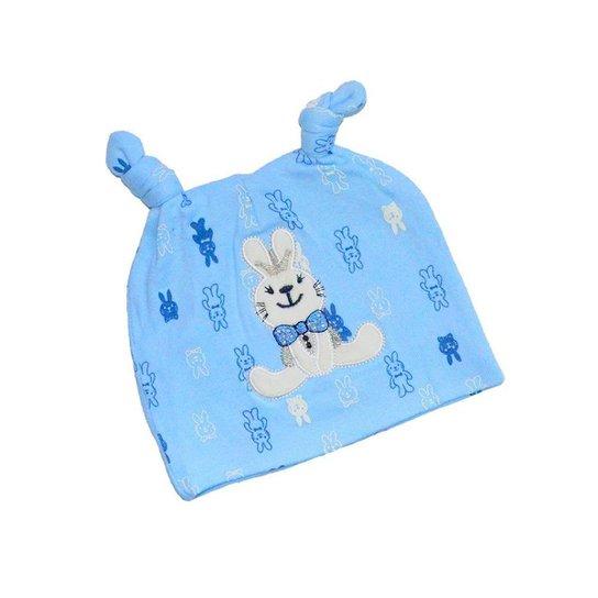 Gorro Bebê Algodão Antialérgico Coelhinho Unisex - Azul Piscina