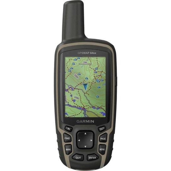 GPS Portátil Garmin GPSMAP 64sx Mapa TopoActive América do Sul Antena Helix Quádrupla Bluetooth - Preto+Cinza