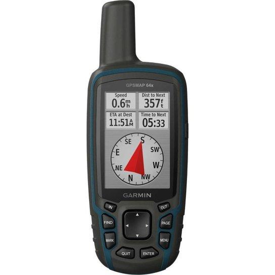 GPS Portátil Garmin GPSMAP 64x Mapa TopoActive América do Sul Antena Helix Quádrupla - Preto