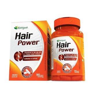 Hair Power 400mg Katiguá - Vitamina A, B2, B3, B7, C, Cobre, Iodo e Zinco - 90 Cápsulas