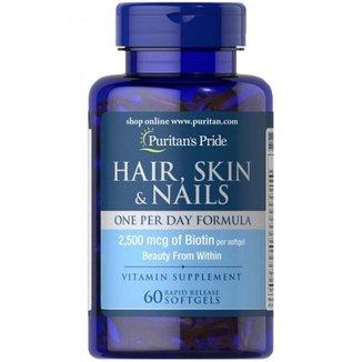 Hair, Skin & Nails - Puritans Pride - 2500mcg I Cabelo, Pele & Unhas (60 Softgel)