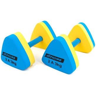 Halteres Triangular para Hidroginástica Fiore 2 a 3 Kg Azul/Amarelo
