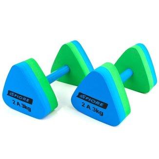Halteres Triangular para Hidroginástica Fiore 2 a 3 Kg Azul/Verde