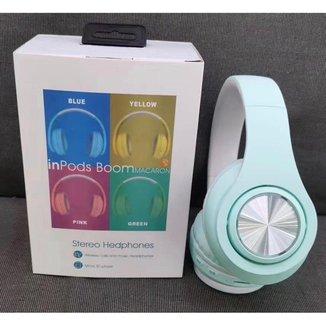 Headphone Inpods Boom Led Bluetooth Wireless Micro Sd Azul