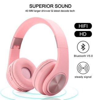 Headphone Inpods Boom Led Bluetooth Wireless Micro Sd Rosa