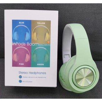 Headphone Inpods Boom Led Bluetooth Wireless Micro Sd Verde