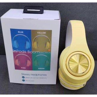 Headphone Inpods Boom Led Bluetooth Wireless MicroSd Amarelo