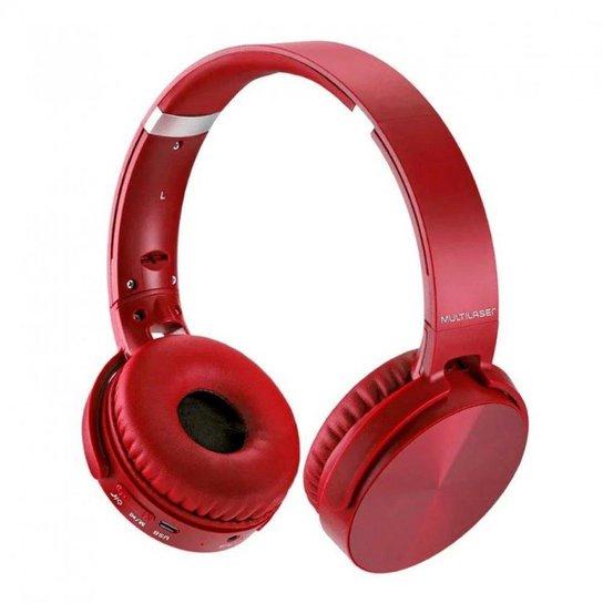 Headphone Premium Bluetooth Sd/Aux/Fm Multilaser - Vermelho