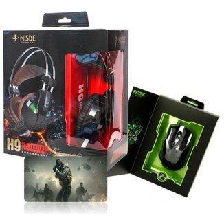Headset Fone de Ouvido Gamer Jogos Microfone H9 Mouse X-9 Gamer