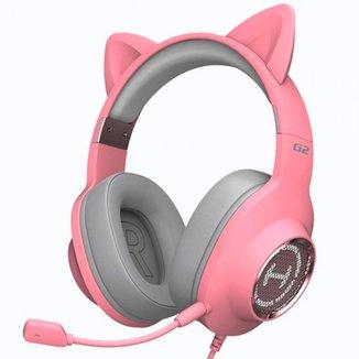 Headset Gamer Edifier G2 II Over-Ear - LED RGB - Som Virtual 7.1 Surround - USB - Rosa - G2II-PK