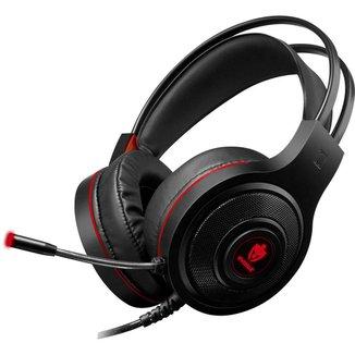 Headset Gamer Evolut EG301RD/Têmis Preto/Vermelho