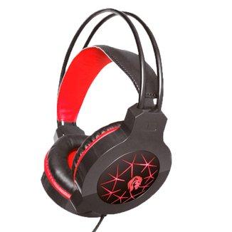 Headset Gamer Hayom HF2200 - Microfone - LED - Conector P2 e USB para energia - Preto e Vermelho