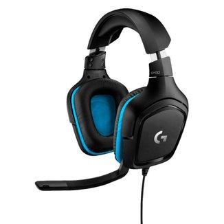 Headset Gamer Logitech G432 Wired 7.1 Surround - Drivers 50mm - Conector USB e P2 - Preto/Azul