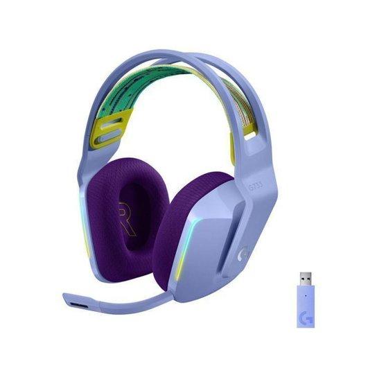 Headset Gamer Logitech G733 PC MAC PS4 sem Fio - Lilás