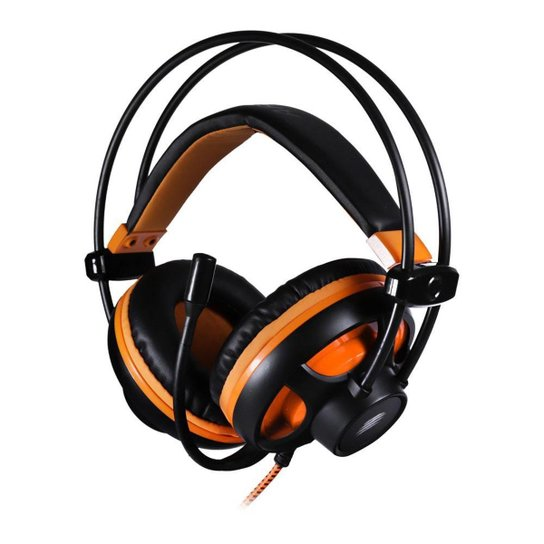 Headset Gamer OEX Argos HS417 Preto/Laranja 7.1 USB - Preto