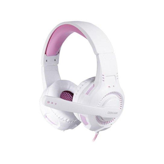 Headset Gamer OEX Gorky HS413 Branco/Rosa Multiplataforma - Branco