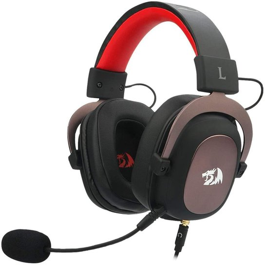 Headset Gamer Redragon Zeus 2 e Vermelho P2 Com Microfone - Preto