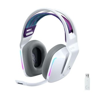 Headset Gamer Sem Fio Logitech G733 RGB Lightsync, 7.1 Dolby Surround com Blue VOICE, Branco