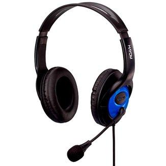 Headset Hayom Office HF2208 - Microfone - Conector P2 - Preto e Azul - 221008