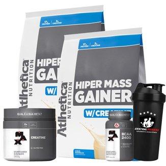 Hiper Mass Atlhetica - Baunilha 3kg + Creatina & Bcaa Max Titanium + Coqueteleira