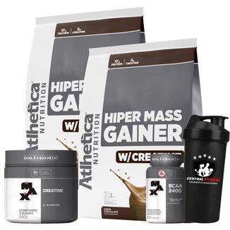 Hiper Mass Atlhetica - Chocolate 3kg  + Creatina & Bcaa Max Titanium + Coqueteleira
