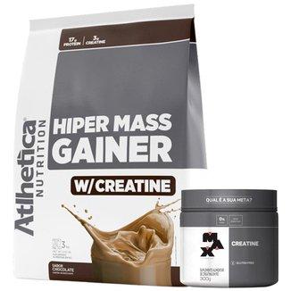 Hiper Mass Atlhetica - Chocolate 3kg + Creatina 300g Max Titanium