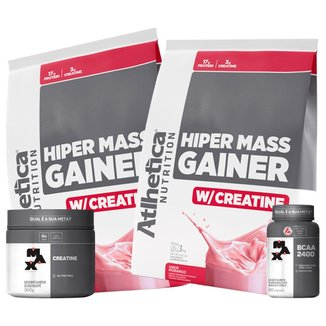 Hiper Mass Atlhetica - Morango 3kg  + Creatina & Bcaa Max Titanium