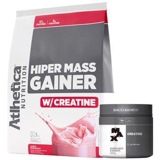 Hiper Mass Atlhetica - Morango 3kg + Creatina 300g Max Titanium