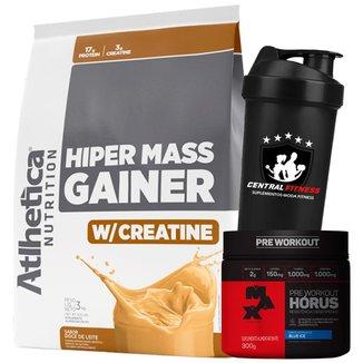 Hiper Mass Gainer 3kg + Hórus + Coqueteleira - Atlhetica Nutrition
