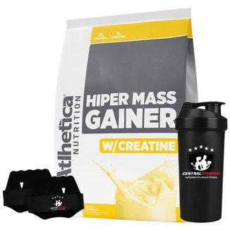 Hiper Mass Gainer - Banana 3kg + Luva + Coqueteleira - Atlhetica Nutrition