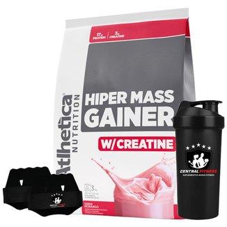 Hiper Mass Gainer - Morango 3kg + Luva + Coqueteleira - Atlhetica Nutrition