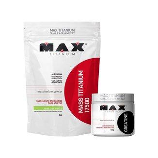 Hipercalórico Mass Titanium 3kg Torta de Limão + Creatina 100g - Max Titanium