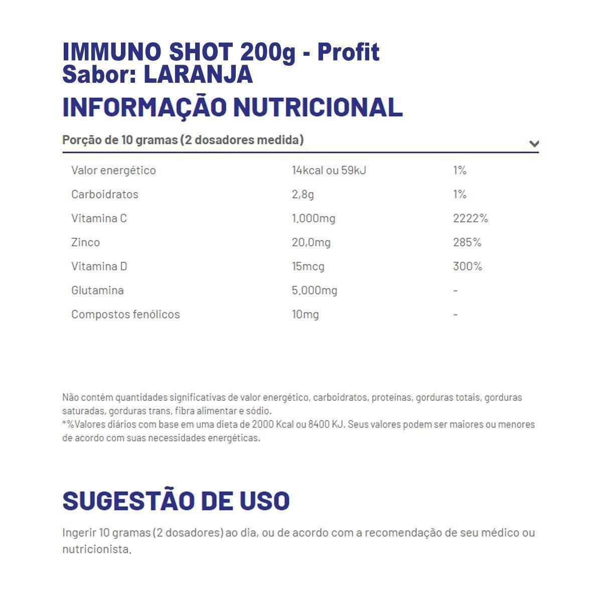 Immuno Shot 200G C/ Vit C + D3 + Glutamina + Zinco - Profit - Laranja. |  Netshoes