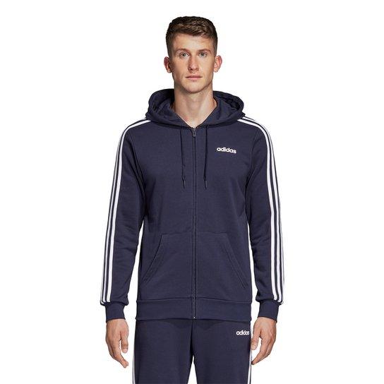 Jaqueta Adidas 3S com Capuz Masculina - Marinho+Branco
