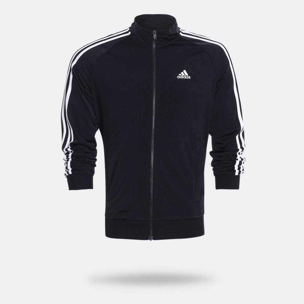 65f02102c22 Jaqueta Adidas Ess 3S Ttop Tri Masculina - Preto e Branco - Compre Agora