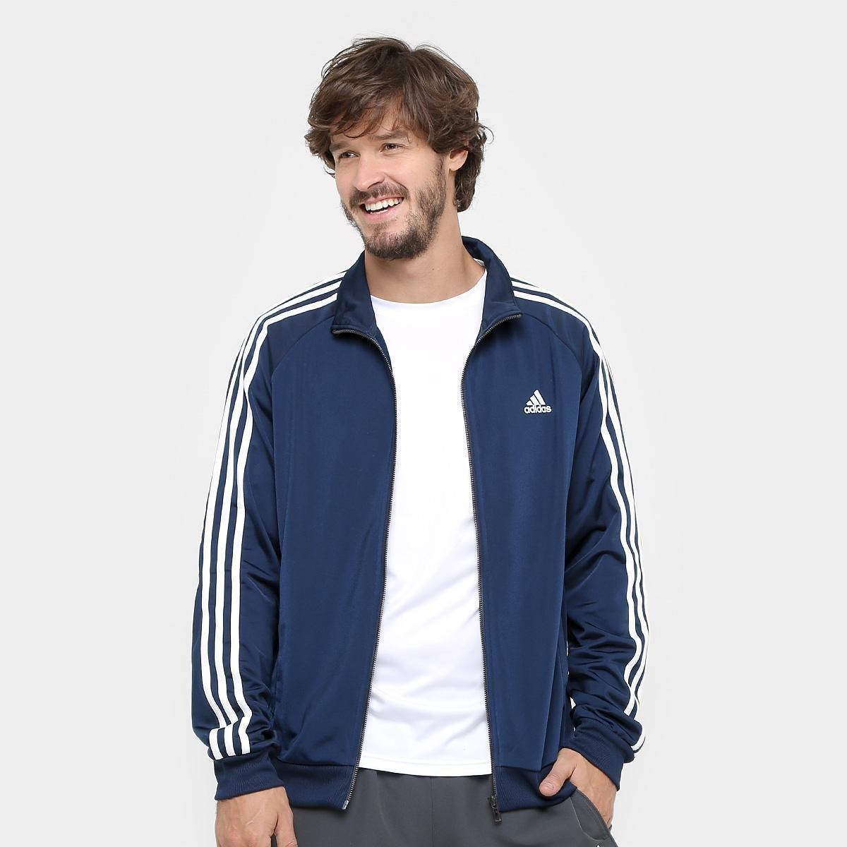 8c1da72a4d25e Jaqueta Adidas Essential 3S Top Masculina - Marinho e Branco - Compre Agora
