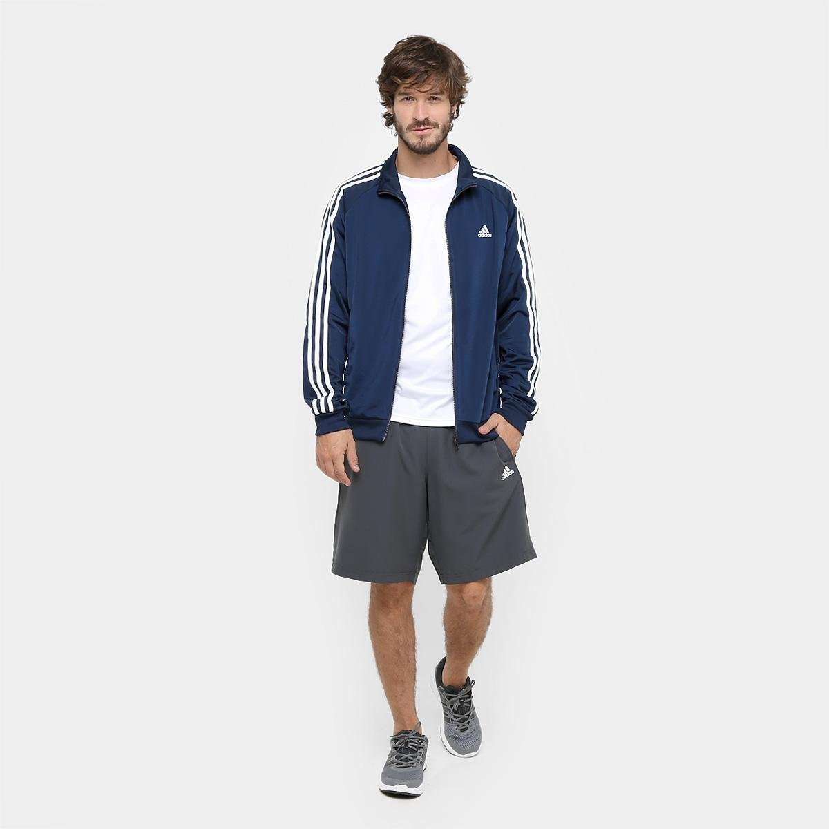 55808cdc32 Jaqueta Adidas Essential 3S Top Masculina - Marinho e Branco ...