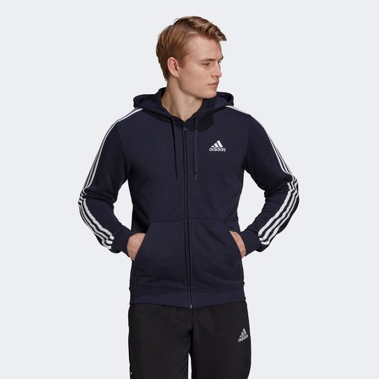 Jaqueta Adidas Essentials 3 Listras Masculina - Marinho+Branco