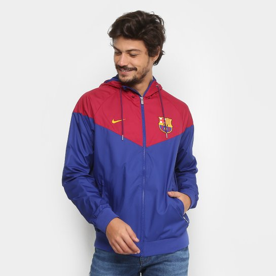 Jaqueta Barcelona Nike Windrunner c/ Capuz Masculina - Azul+Vermelho