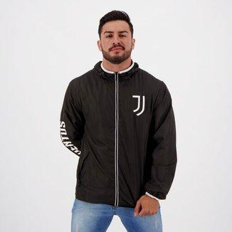 Jaqueta Corta-Vento Juventus Lettering Capuz Masculina