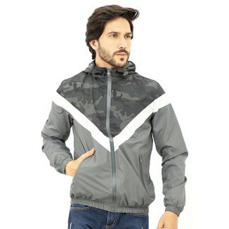 Jaqueta Corta Vento Masculina Camuflada Com Capuz Bolsos